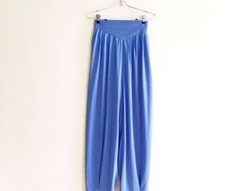 Vintage 70s Blue Harem Pants // High Waist Harem Pant // Bohemian // Boho