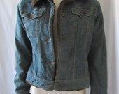 Retro Jean Jacket Faux Fur Trim quilted warm inside Vintage Bomber Jacket