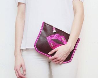 SALE / Leather clutch bag. Statement purse. Minimalist clutch bag. Shoulder purse. Metallic natural leather. Pop art. /SUPERSTAR 13
