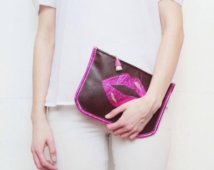 Leather clutch bag. Statement purse. Minimalist clutch bag. Shoulder purse. Crossbody bag. Metallic natural leather. Pop art. /SUPERSTAR 13
