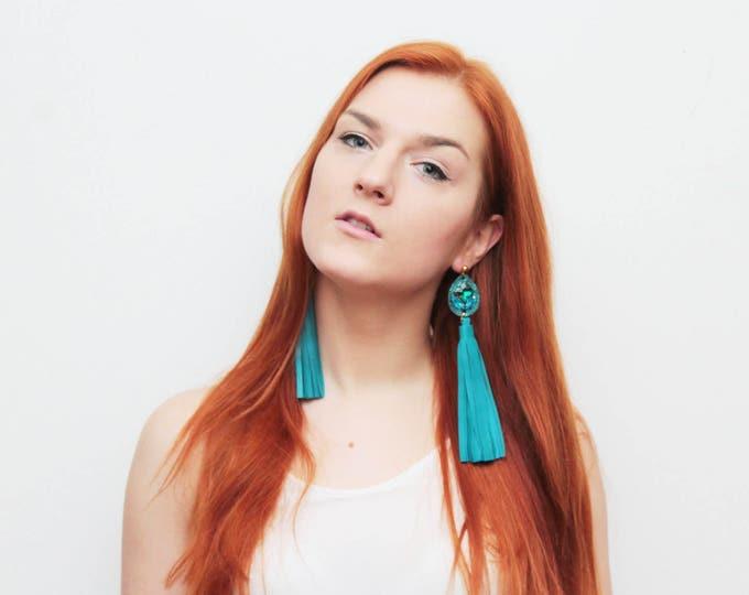 MIRACLE 30 / Long leather tassel earrings-statement earrings-leather fashion earrings-embroidered gemstones-fringe earrings- Ready to Ship