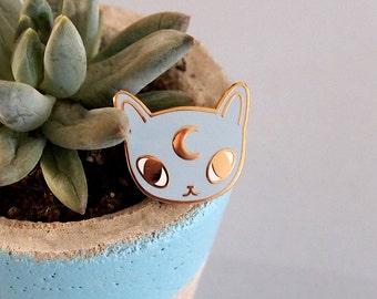 Moon cat enamel pin - Cat pin - Enamel pin - Enamel cat pin - I like cats - Cat lapel pin - Cat jewellery - Cat gifts - Cats - hard enamel