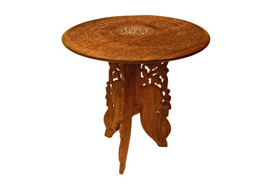Handmade Wooden Table Carved Wood Oak Stand Small Coffee