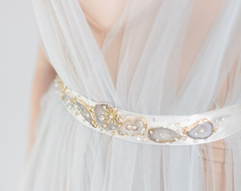 Bridal Wedding Crystal Geode Sash, Geode Belt, Bridal stone belt, bridal wedding sash, abigail grace bridal