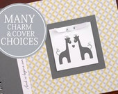 TWIN Giraffe Baby Book | Twin Baby Album & Photo Book | Twin Pregnancy Gift | Personalized | Gender Neutral | Yellow and Gray Circles