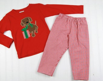 Christmas Outfit for Boys - Puppy Dog Shirt - Boys Christmas Shirt - Toddler Boy Christmas T-Shirt - Boys Red Gingham Pants - Christmas Tee