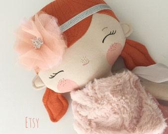 "Vintage Look - Cloth Doll - 20.5"" - 52 cm - Rag Doll - Redhead Doll - Huggable Doll - Handmade Doll - Girl Gift"