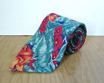 Vintage Tropical Floral Silk Tie / men's New Haven Neckwear Company botanical flower pattern necktie