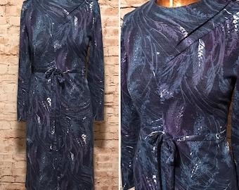 Vintage 1960's Shift Dress / 60s Belted Watercolor Dress // size large L