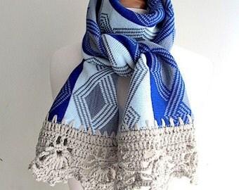 Knitted Scarf OOAK Neck warmer Blue Grey Winter Scarf Women Girls Accessories