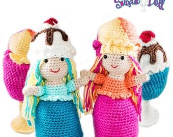 Amigurumi Crochet Ice Cream Sundae Topsy-Turvy Doll Toy Pattern