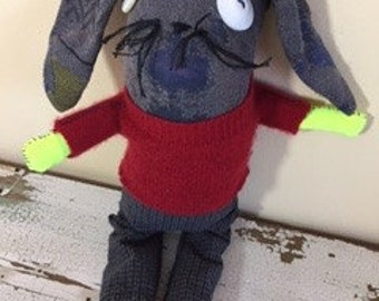 Bunny Sock Animal Rag Doll, Hand Stitched, Made from all Reclaimed Clothing, Hipster Toy, Plush Softie, Sustainable Gift, OOAK, Eco Friendly
