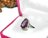 Pear Cut Alexandrite Ring, Sterling Silver Setting, Size 5 Alexandrite Ring
