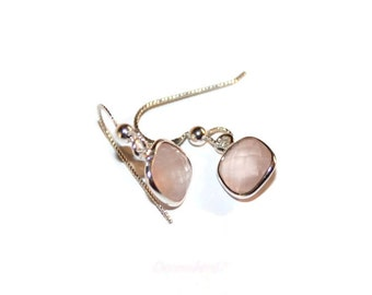 Rose Quartz Earrings, Sterling Silver Earrings, Short Dangle Earrings, Square Stone Earrings