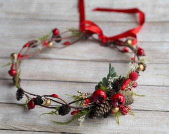 Christmas hair accessory, Holiday Hair Accessory, Red Halo, Winter Crown, Rustic Halo, Elven Crown, Winter Hair Wreath