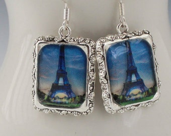 Efle Tower Paris Earrings Jewelry Blue Silver Square 3D Dimensional