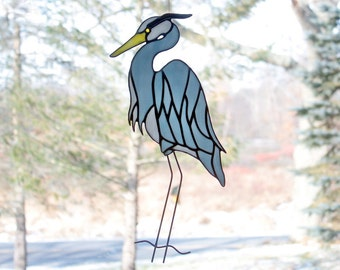 Blue Heron Stained Glass Bird Suncatcher Panel, Glass Art