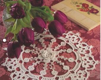Fleur de Lis Crochet Doily Pattern, Kitchen Decor, Table Topper, Centerpiece, Home Decor, Cotton Thread Lace Doilies, House Of White Birches