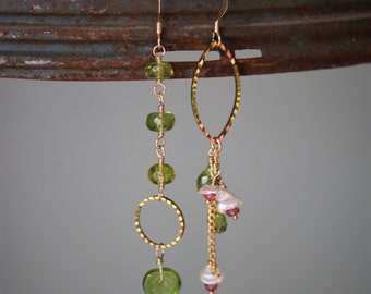 Darla Earrings: Asymmetrial pair featuring peridot and pink tourmaline-keishi pearl flowers on 14k gold filled chain, wire, ear wire