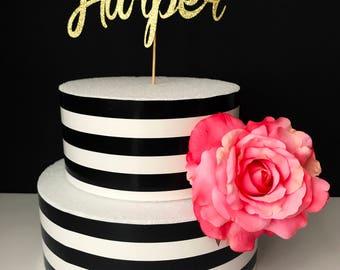 Gold- Name- Cake Topper- Centerpiece