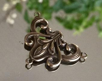 bronze filigree necklace center rosary connector earring component centers filigree art nouveau, 1 pc