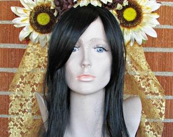 Sunflower Headdress, Flower Headband, Floral Crown, Veiled Headdress, Fall Headband, Day of the Dead, Dia de los Muertos, Fall Festivals