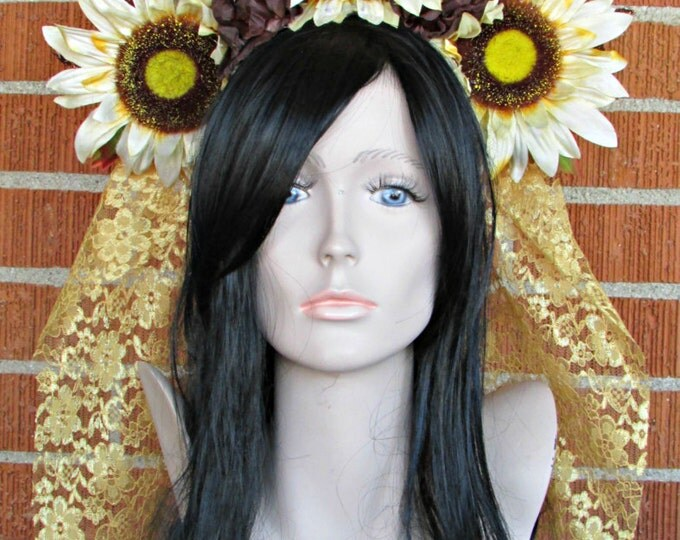 Sunflower Headdress, Flower Headband, Floral Crown, Veiled Headdress, Fall Headband, Day of the Dead, Dia de los Muertos, Fall Festivals