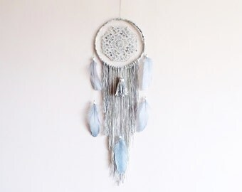 Bohemian dreamcatcher, doily dream catcher, large, handmade, wall hanging, boho bedroom, silver gray white, wall decor, gift ideas, bedroom