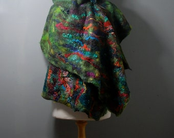 Felted scarf Nuno felted scarf Felt shawl merino wool gotland fleece silk green blue pink orange felted art  winter scarf wool wrap shawl