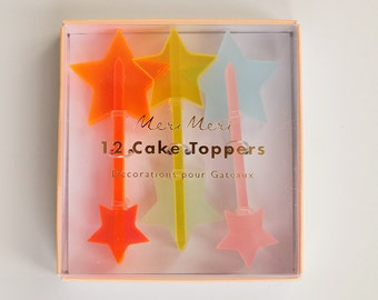 Rainbow Acrylic Star Cake or Cupcake Toppers- Set of 12
