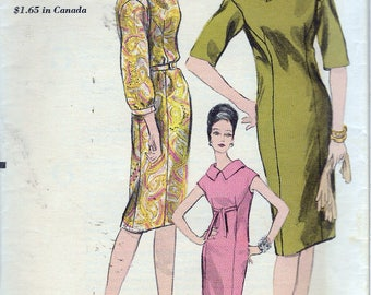 Vintage 1963 Vogue 5944 One Piece Dress Sewing Pattern Size 14 Bust 34""