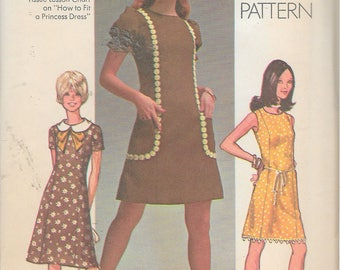"""Vintage 1970 Simplicity 9237 Retro Dress In Two Lengths Sewing Pattern Size 14 Bust 36"""" UNCUT"""