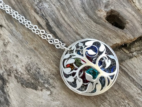 Mothers  from Daughter/Birthstone Necklace for Mom/Tree Locket/Mothers  Jewelry/Mothers  from Kids/Birthstone Jewelry/Quote Jewelry