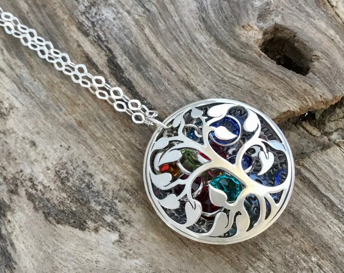 Family Tree Necklace Family Tree Locket Birthstones Jewelry Personalized Family Tree Gifts for Grandma Grandmothers Gifts Custom Necklace