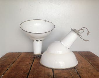 Vintage Industrial Lights, Pair of Angled Porcelain Barn Lights, Gas Station Lights, White Enamel Light, Angled Light, Off Set Light