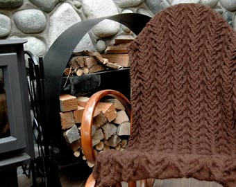 """Throw Blanket/Afghan Larch"""" - hand knit in cosy and warm natural and undyed Royal Alpaca - with overall cables - MADE TO ORDER"""