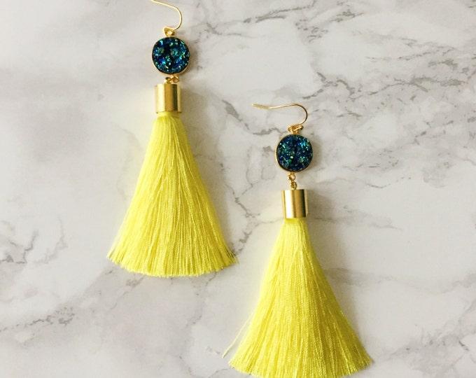 Yellow Peacock Tassel Drop Earrings - Turquoise Druzy