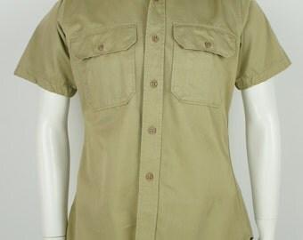 Vintage 1960's Short Sleeve Military Chino Khaki Shirt size Small 1966
