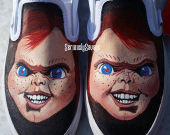 READY TO MAIL size 6.5 men's, 8 women's Custom Painted Classic Horror Chucky Childs Play Creepy Bloody Fantastic Shoes