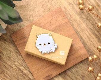 Pomeranian Pin (White)