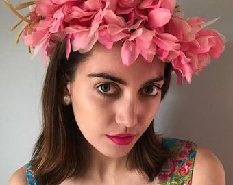 Vintage 60s Pink Flower Crown Topper Hat