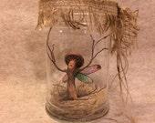 ooak fairy mushroom pixie art doll sculpture dryad tree spirit woman miniature cicada wings