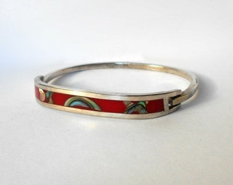 Vintage Clamper Bangle Bracelet 925 Sterling Silver MOP Red Enamel