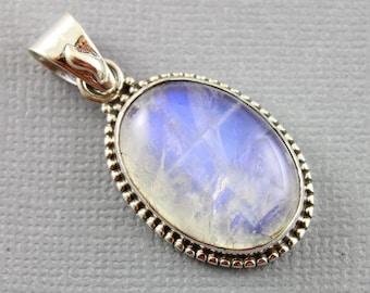Rainbow Moonstone Pendant, 925 sterling silver pendant, Silver Pendant, Pendant for Necklace, Rainobow Moonstone, Artisan Pendant, (SP-7009)