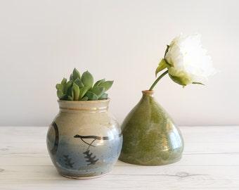 Set of 2 Vintage Studio Pottery Vases