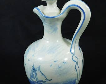 French Decanter, Labbe Francois France, Hand Painted, Nautical Decor, 1930s, Liqueur Bottle
