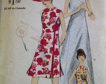 Vintage 1960s Vogue 6179 Sewing Pattern Princess Seamed A-Shaped Dress Bust 32""