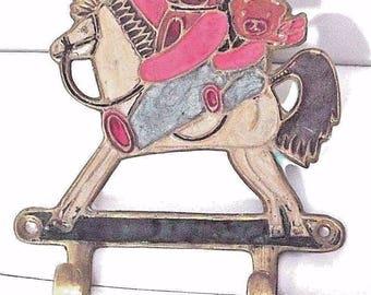 Vintage Rocking horse metal key rack, Retro rocking horse metal key rack - rare