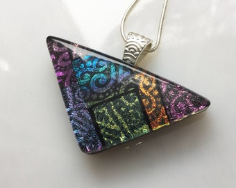 Dichroic Glass Pendant, Fused Glass Jewelry, Triangle Necklace