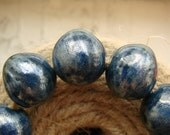 RESERVED Set of 8 ceramic round beads -silver blue luster beads